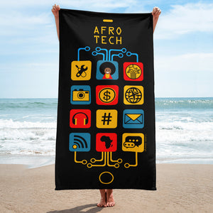 Afro Tech Black Icon Sublimation Towel