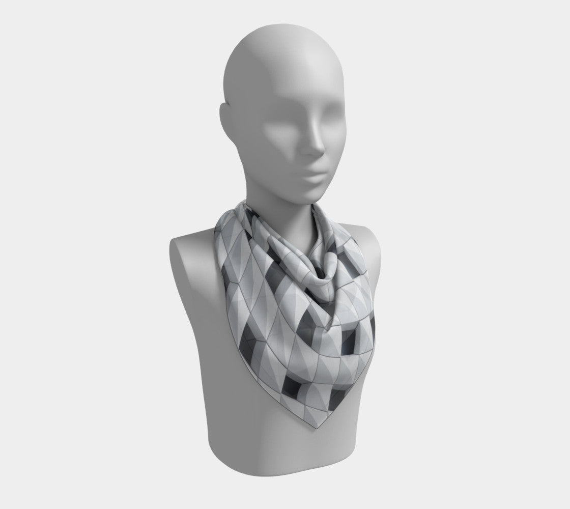 White Mesh Silk Scarf (Square)