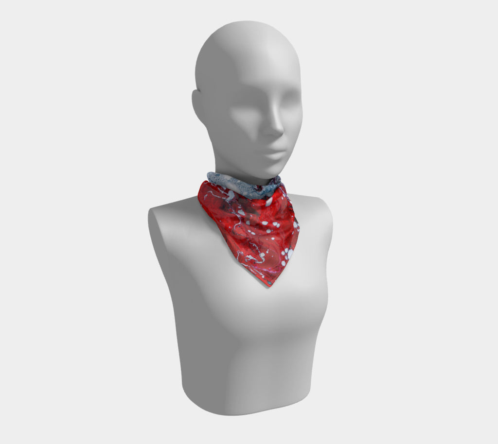 RED/Grey Splotch Silk Scarf (Square)