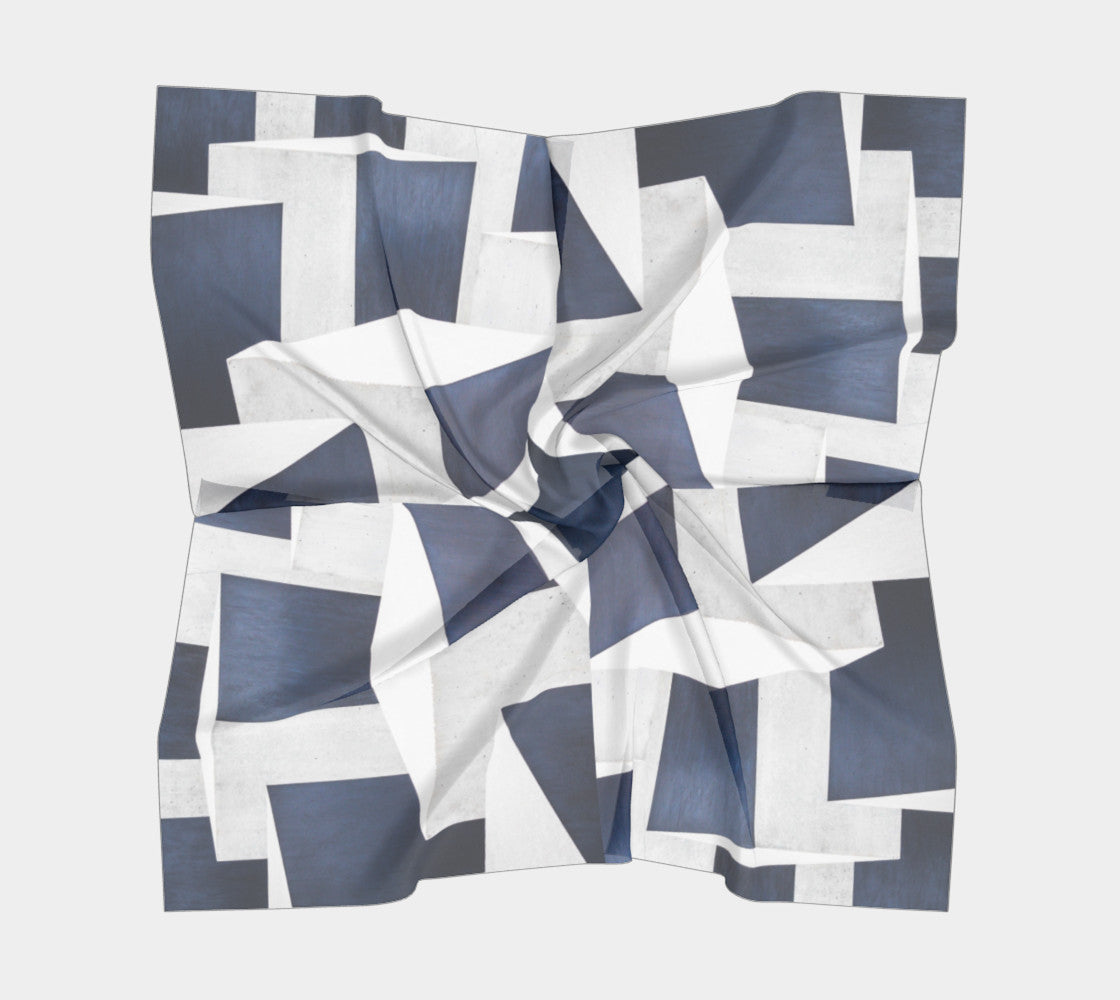 Blue Blocka Silk Scarf (Square)