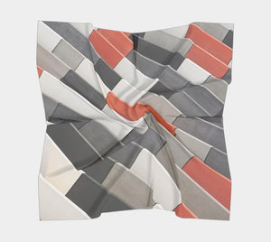 Orange Grey Black White Slats Silk Scarf (Square)