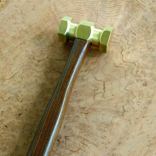 Hexagonal brass hammer with Bolivian Rosewood handle