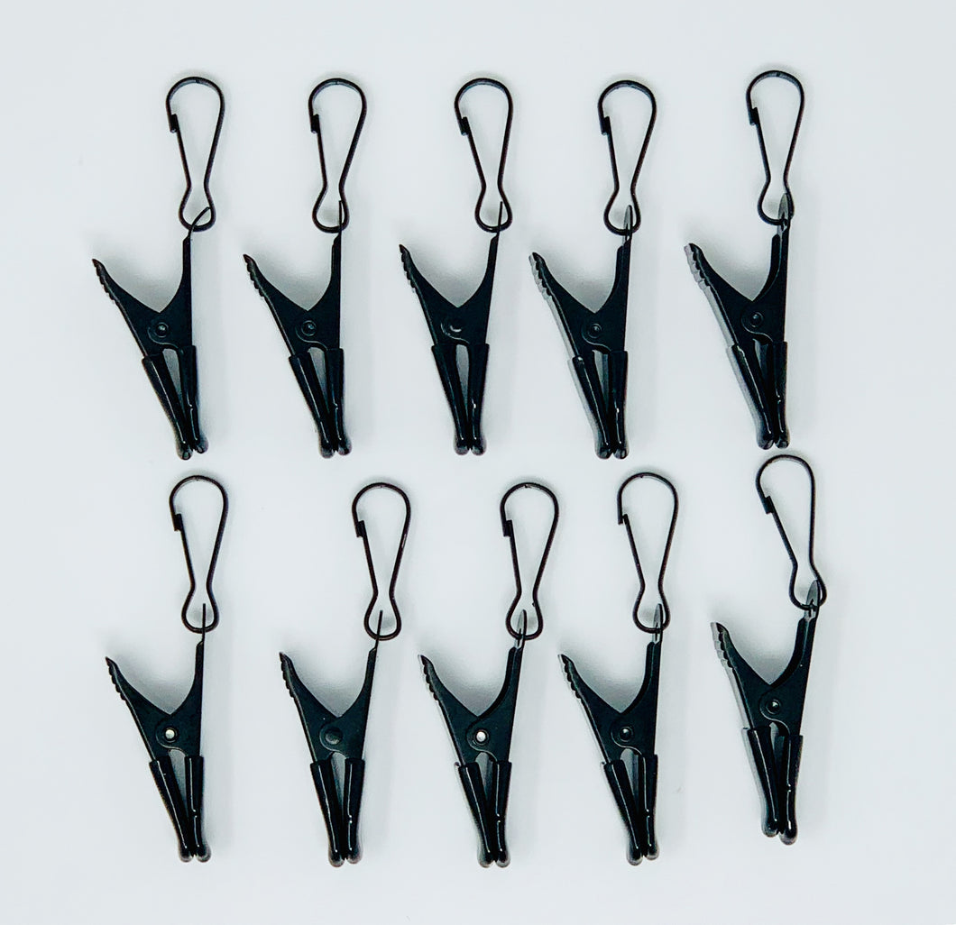 (10) Metal Black Clip Hangers Extra Clips
