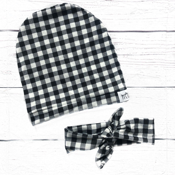 Monochrome Lovers Buffalo Plaid Slouchy Hat or Headband