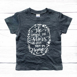 """He Counts the Stars"" heather charcoal grey tee"