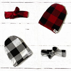 Buffalo plaid print slouchy hat or headband