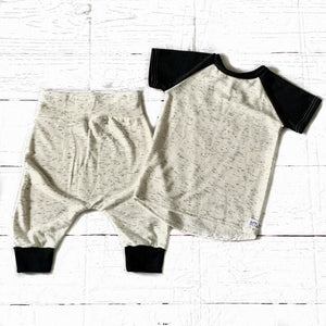 Monochrome Speckle Cropped Joggers & Raglan Tee Set