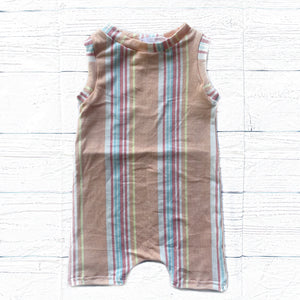 Peachy Summer Stripes Tank Short Romper
