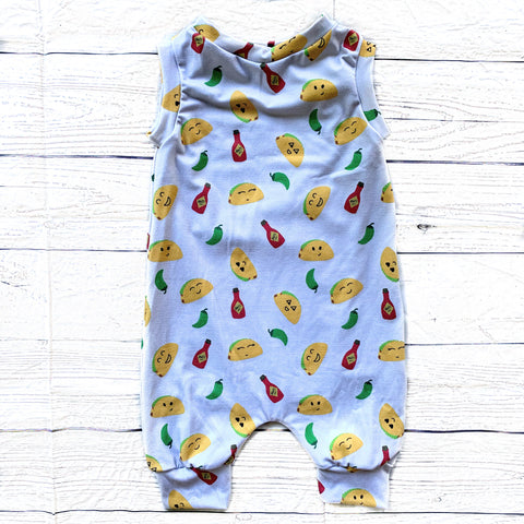 Let's Taco Bout the Cutest  3/4 Length Tank Romper