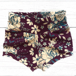 Plum Floral Shorties (Size 18-24m only)