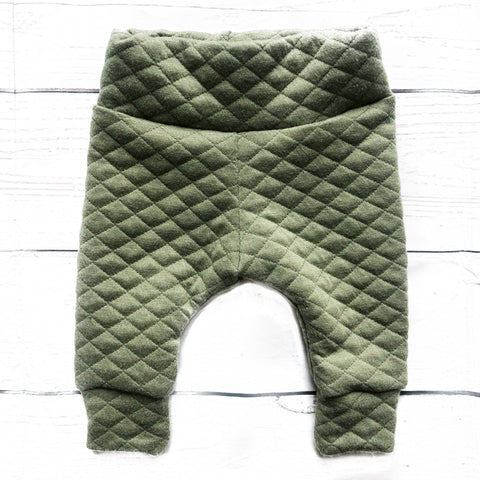 Army Green Quilted Leggings