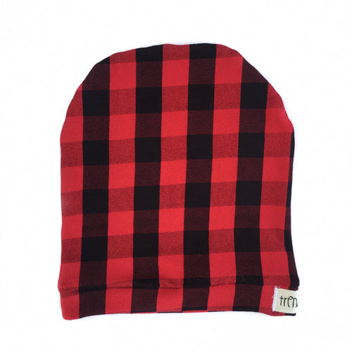 Red & Black Buffalo Plaid slouchy hat or headband