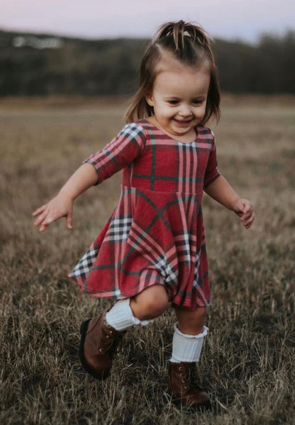 Cute in Plaid Twirl Dresses