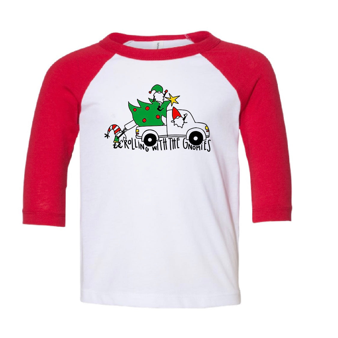 """Rolling with the Gnomies"" baseball style tee"