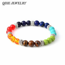 Natural Stone Multicolor 7 Chakra Healing Energy Beads Bracelet.