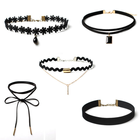 5 Pieces Set  Gothic Chokers