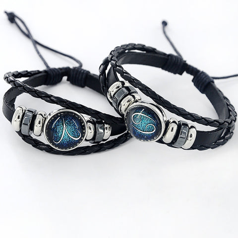 Black Leather Zodiac 12 Constellation  Sign with beads  Bracelet