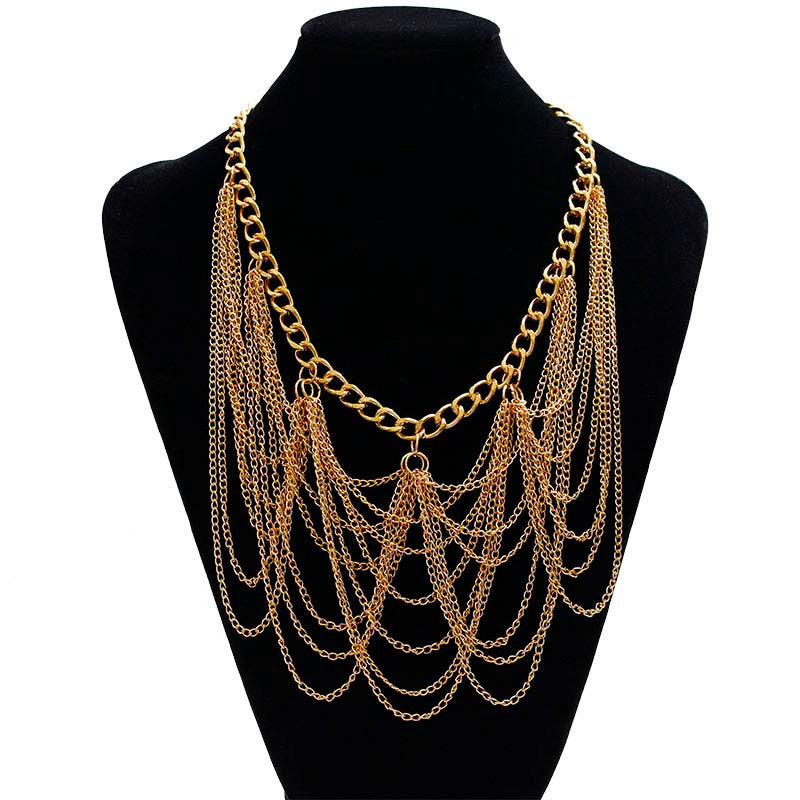 Women Lrregular Multilayer Gold Pendant Chain Statement Necklace GD