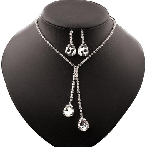 Rhinestone/Crystal Statement Necklace and Earring Set