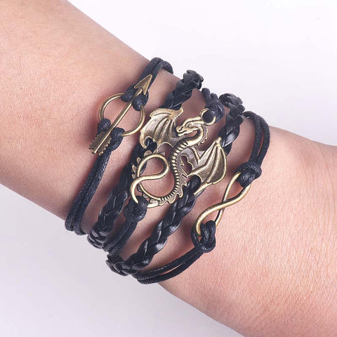 Dragon Leather Bracelet Vintage Punk  Charm Men / Ladies