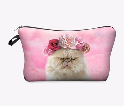 Statement Cosmetic Travel Pouch - Floral Cat - Unicorn Makeup Brush