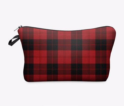 Statement Cosmetic Travel Pouch - Red Tartan - Unicorn Makeup Brush