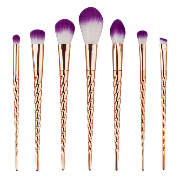 Gold Mystic Unicorn Makeup Brush Set - 7 Pieces - Unicorn Makeup Brush