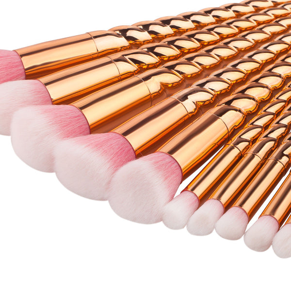 Rose Gold Unicorn Full Brush Set - 10 Pieces - Unicorn Makeup Brush