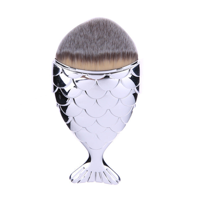 Mermaid Tail Makeup Brush - Silver - Unicorn Makeup Brush