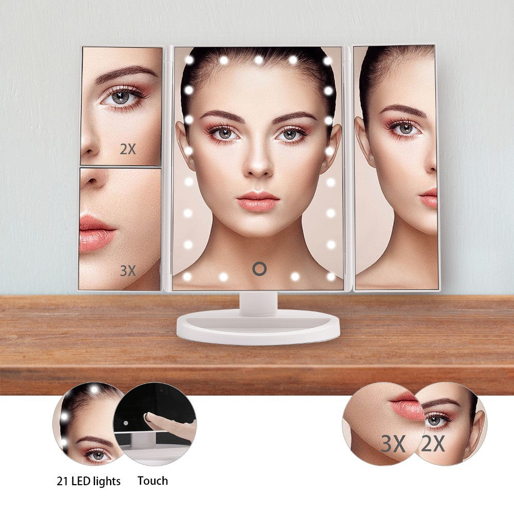 Fold-able LED Touch Screen Mirror - Multi Zoom - Unicorn Makeup Brush
