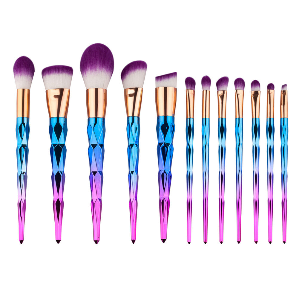 Unicorn Rhinestone Makeup Brush Set - 12 Pieces - Unicorn Makeup Brush