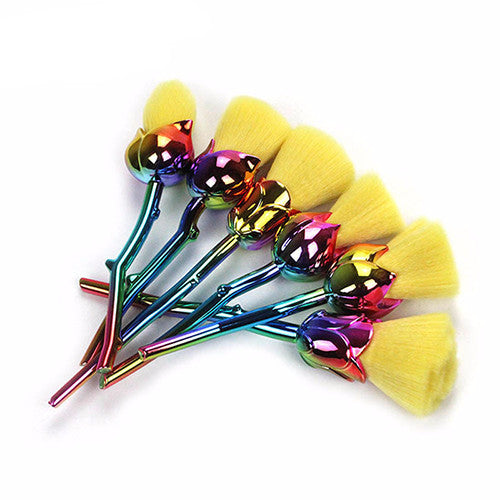 Yellow Rainbow Petal Makeup Brush Set - 6 Pieces - Unicorn Makeup Brush