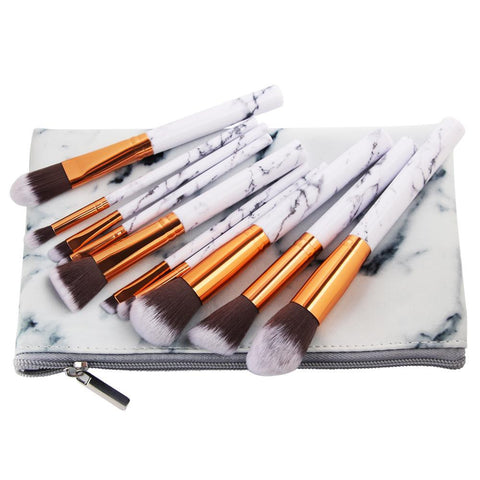Luxury Marble Makeup Brushes - 10 Pieces - Unicorn Makeup Brush