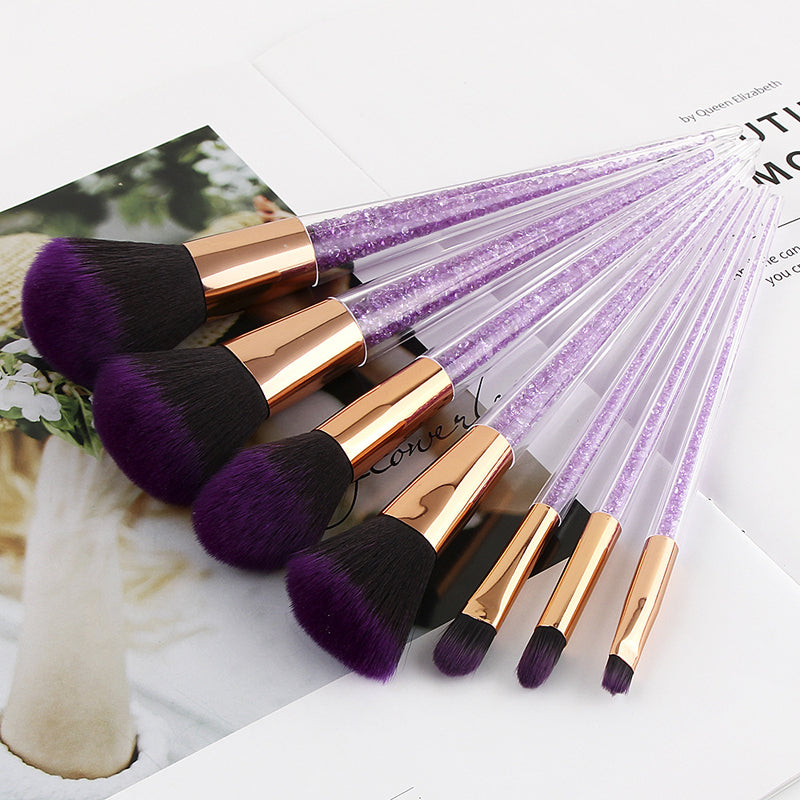 Luxury Purple Diamond Makeup Brush Set - 7 Pieces - Unicorn Makeup Brush
