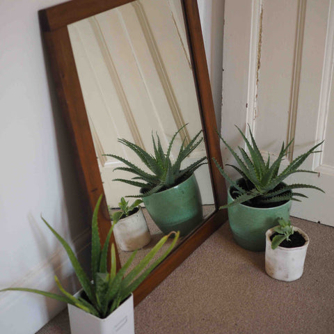 LARGE WOODEN FRAMED MIRROR