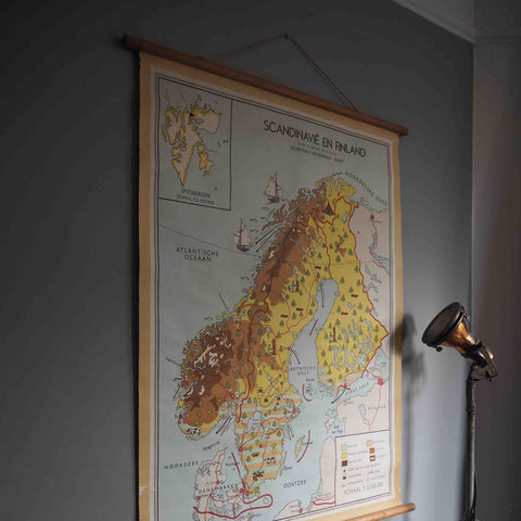 WOODEN-BATTENED ROLL DOWN MAP - SCANDINAVIA