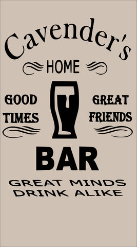Sign Design - Personalized Home Bar Sign