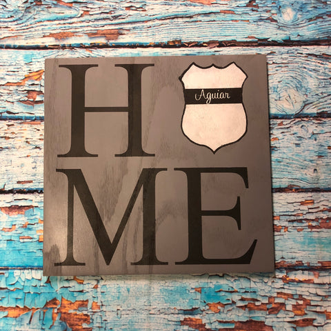 SIGN Design - LEO - HOME with Shield and Blue Line