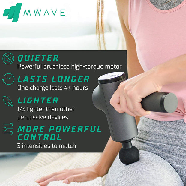 MWave Deep Tissue Muscle Massage Gun, Massage Gun for Athletes, Percussion Massager Gun, Deep Muscle Massager Gun – Quiet and Compact – 4hr Battery Life