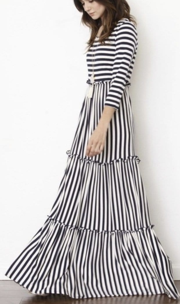 Stripe Maxi with 3/4 Sleeve