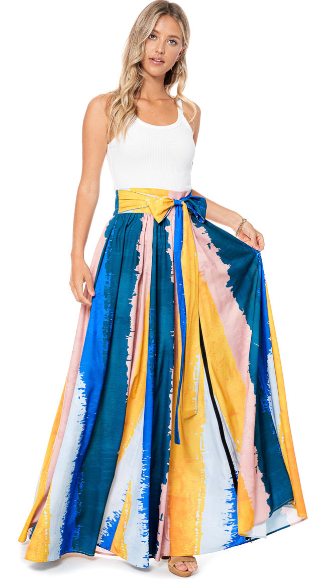 Colorblock Belted Maxi Skirt