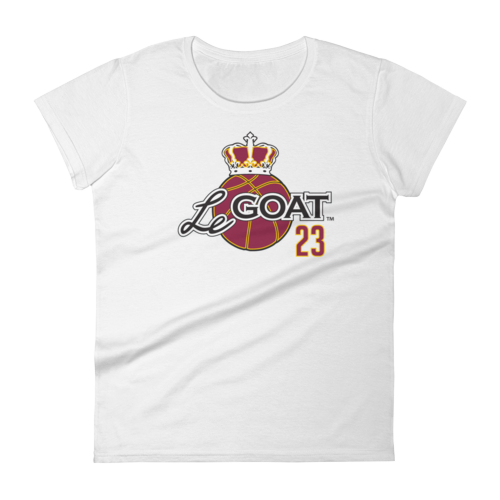 Women's LeGOAT White  Logo Shirt - Gold/Burgundy