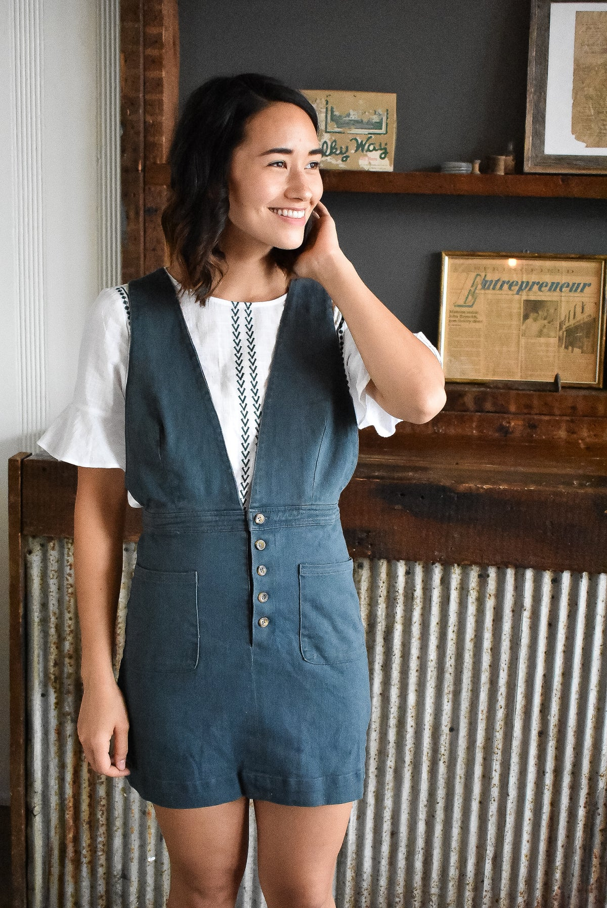 V-NECK DENIM OVERALL DRESS