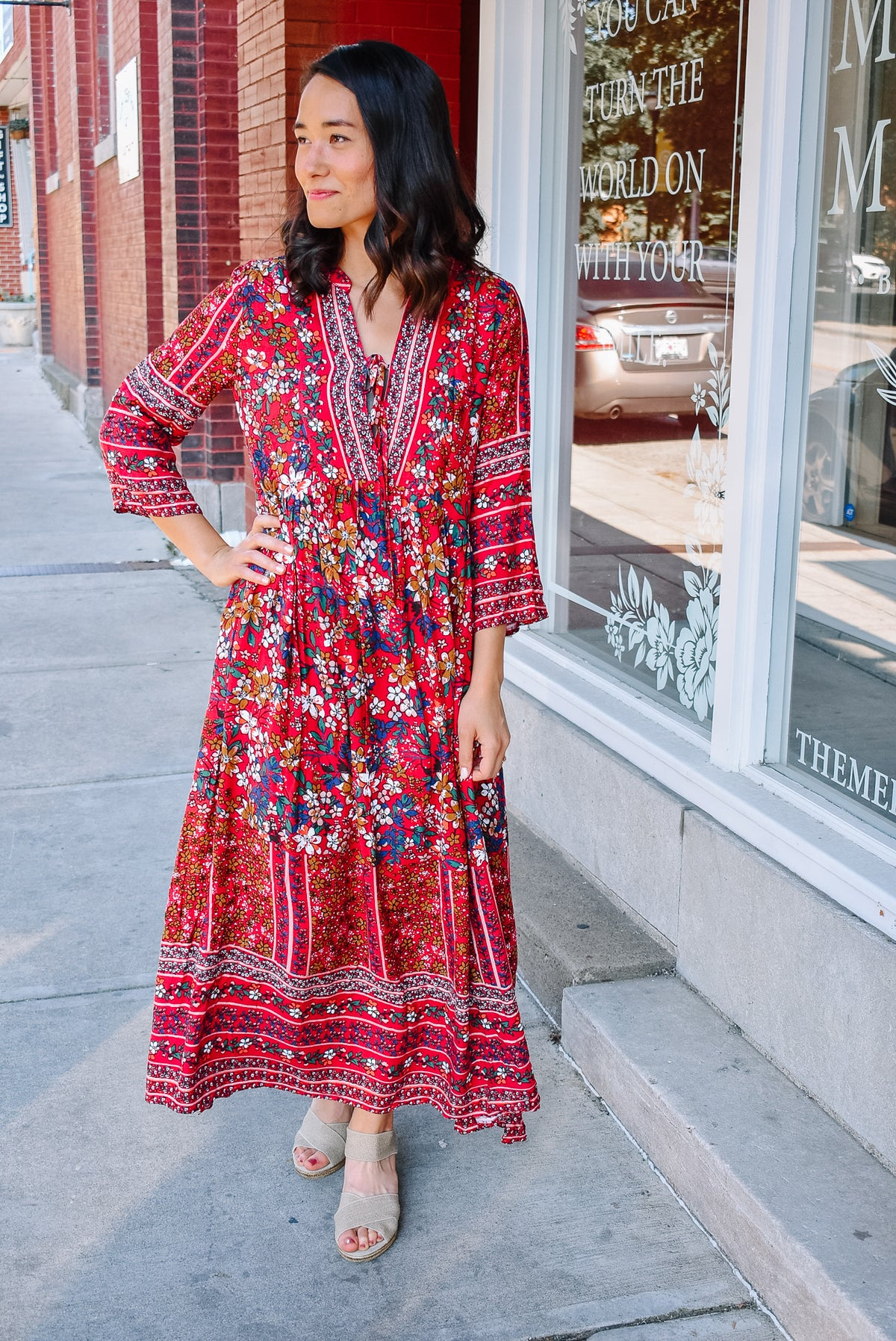 FLORAL BOHO MAXI-RED