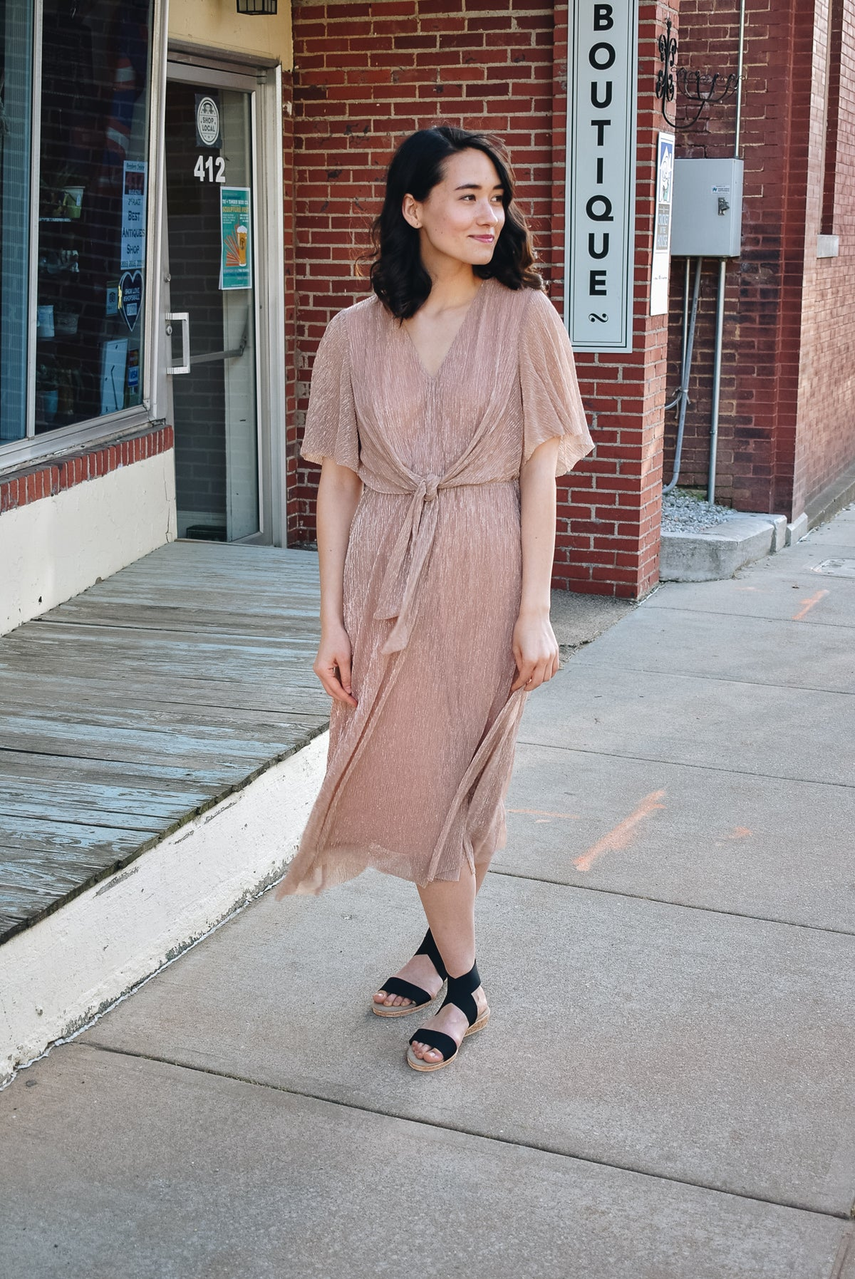 LUREX PLEATED MIDI DRESS-ROSE GOLD