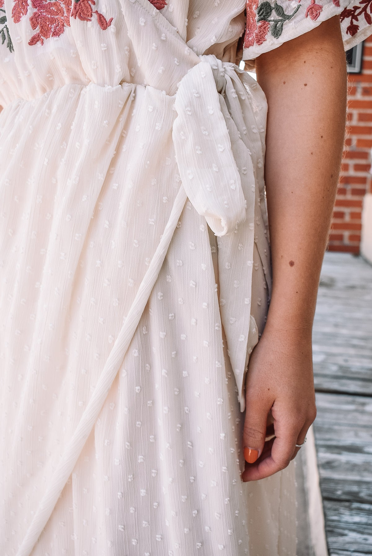 EMBROIDERED SWISS DOT MAXI - IVORY