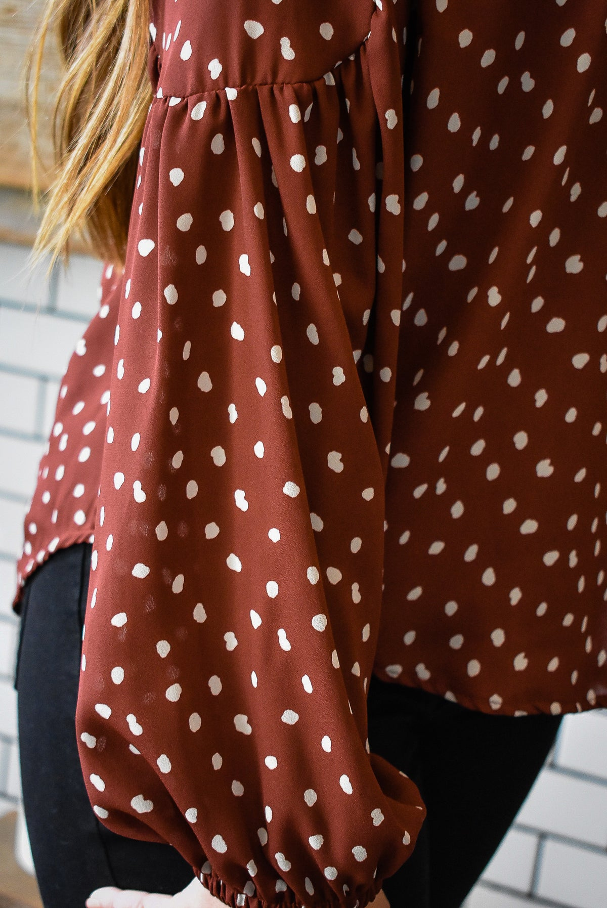 DOTTED BLOUSE-OXBLOOD
