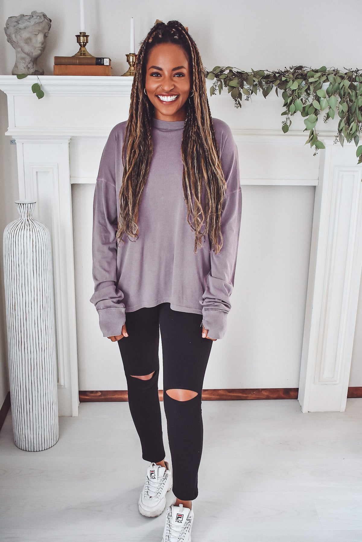 WASHED LONG SLEEVE TOP-PURPLE
