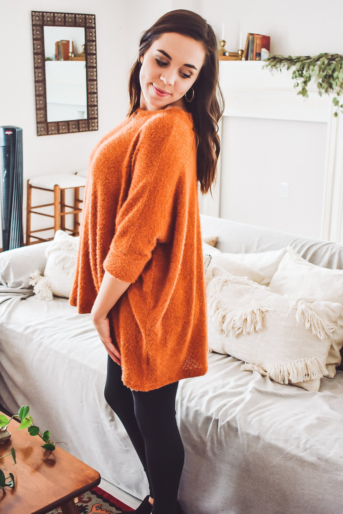 FUZZY OVERSIZED 3/4 SWEATER-ORANGE