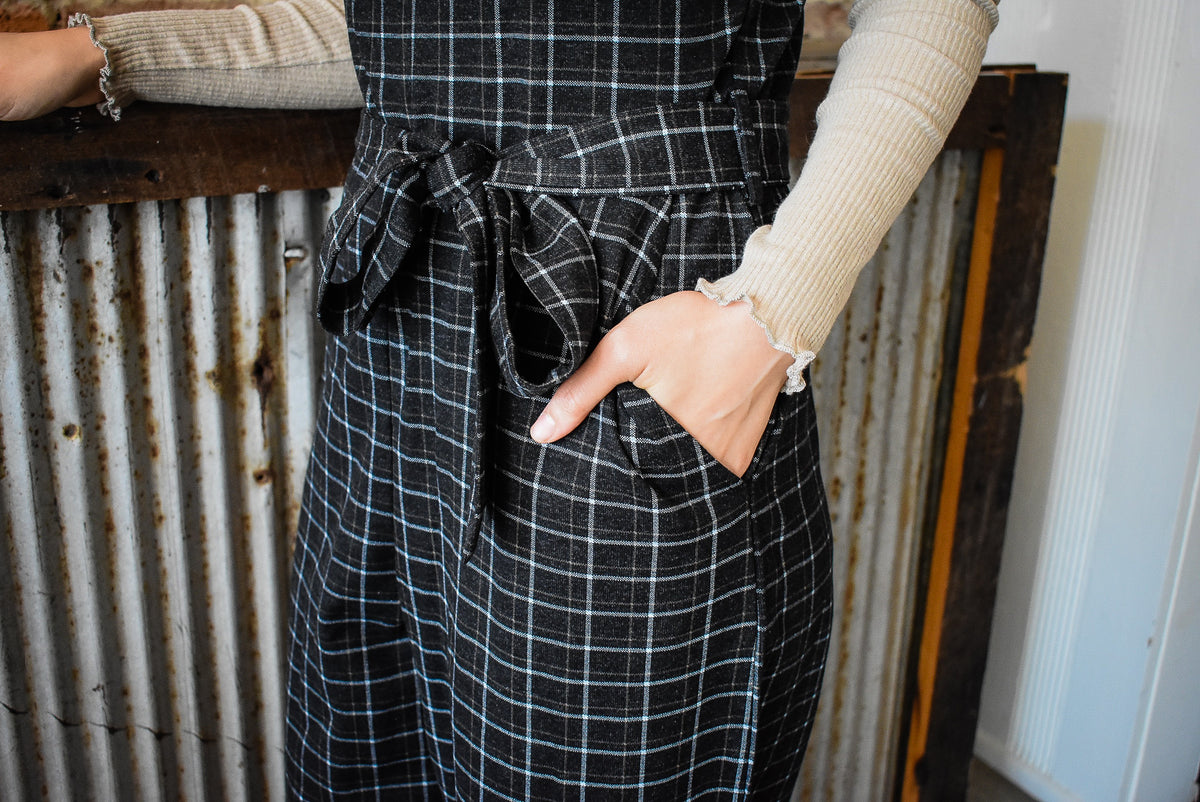 PLAID JUMPSUIT-BLACK